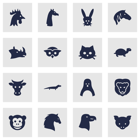 camelopard: Set Of 16 Brute Icons Set.Collection Of Ape, Wildcat, Gecko And Other Elements.