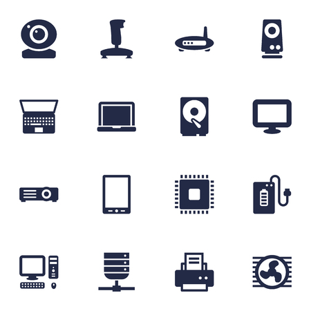 pad: Set Of 16 Laptop Icons Set.Collection Of Amplifier, Hard Disk, Record And Other Elements.
