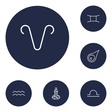 Set Of 6 Galaxy Outline Icons Set.Collection Of Gemini, Aries, Aqurius And Other Elements. Illustration