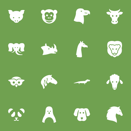 Set Of 16 Brute Icons Set.Collection Of Steed, Night Fowl, Bear And Other Elements.