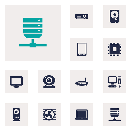 palmtop: Set Of 12 Laptop Icons Set.Collection Of Display, Datacenter, Palmtop And Other Elements.