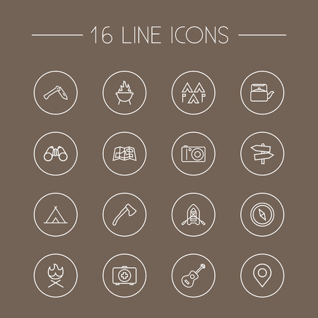 Set Of 16 Picnic Outline Icons Set.Collection Of Penknife, Grill, Place Pointer And Other Elements. Illustration