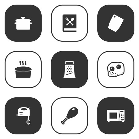 rasp: Set Of 9 Cooking Icons Set.Collection Of Eggs, Loaf, Electronic Oven And Other Elements.
