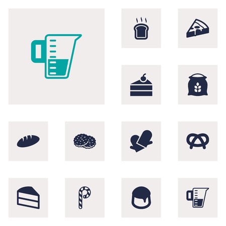 Set Of 12  Icons Set.Collection Of Striped Lollipop, Slice Bread, Shortcake And Other Elements.