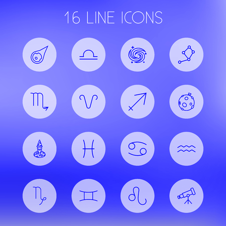 starry night: Set Of 16 Astrology Outline Icons Set.Collection Of Aqurius, Gemini, Sagittarius And Other Elements. Illustration