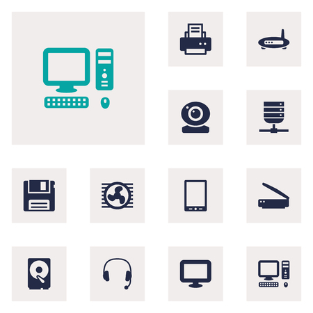 palmtop: Set Of 12 Computer Icons Set.Collection Of Palmtop, Photocopy, Fan And Other Elements.
