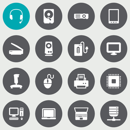 palmtop: Set Of 16 Laptop Icons Set.Collection Of Palmtop, Hard Disk, Peripheral And Other Elements.