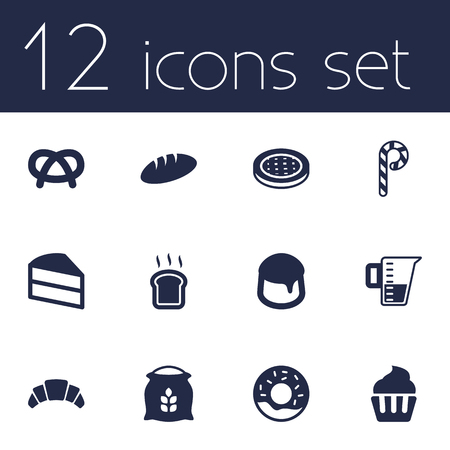 Set Of 12 Stove Icons Set.Collection Of Snack, Loaf, Sack And Other Elements.