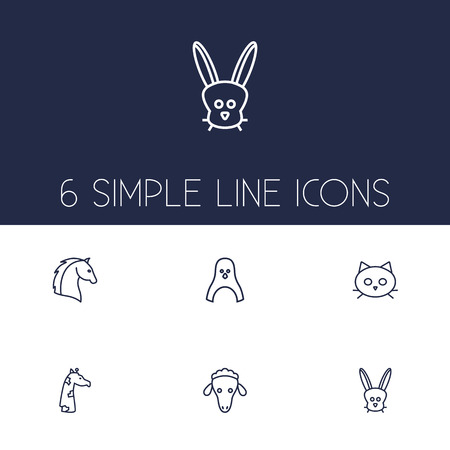 Set Of 6 Brute Outline Icons Set.Collection Of Horse, Cat, Penguin And Other Elements.