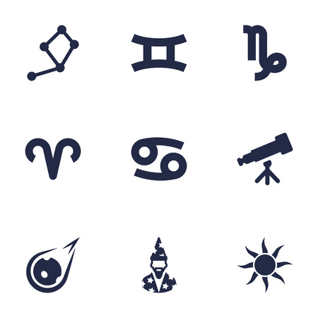 Set Of 9 Horoscope Icons Set.Collection Of Augur, Crab, Binoculars And Other Elements. Illustration