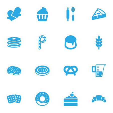 Set Of 16  Icons Set.Collection Of Cake, Grain, Shortcake And Other Elements. Illustration
