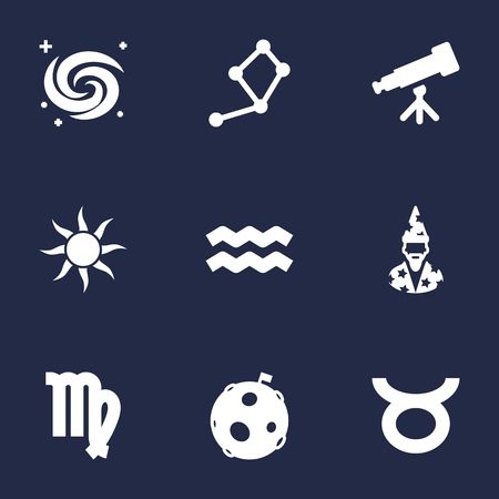 Set Of 9 Horoscope Icons Set.Collection Of Horoscope, Virgin, Water Bearer And Other Elements.