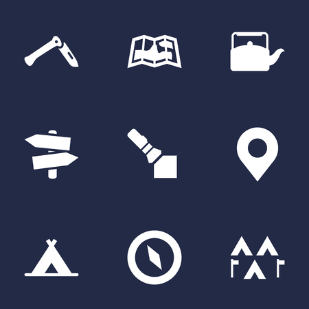 penknife: Set Of 9 Adventure Icons Set.Collection Of Tent, Flashlight, Camp And Other Elements. Illustration