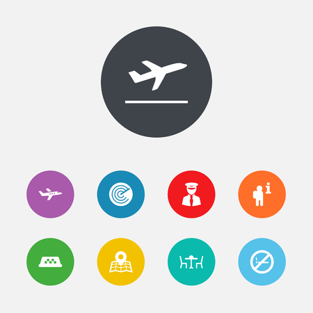Set Of 9 Land Icons Set.Collection Of Aircraft, Restaurant, Location And Other Elements.