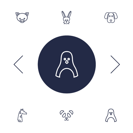 Set Of 6 Alive Outline Icons Set.Collection Of Pig, Dog, Penguin And Other Elements.