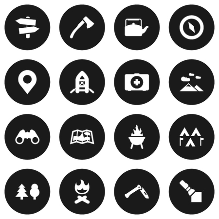 outdoor fireplace: Set Of 16 Picnic Icons Set.Collection Of Jackknife, Map, Wood Axe And Other Elements.