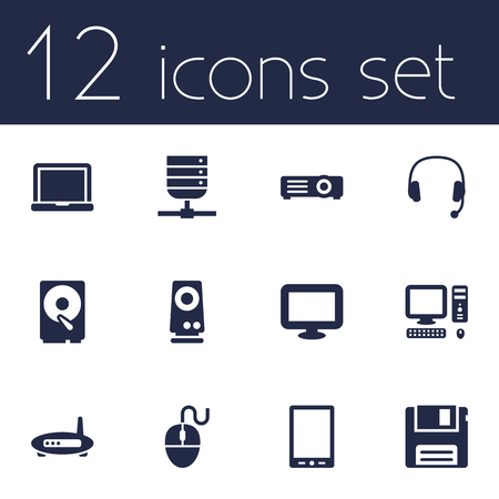 palmtop: Set Of 12 Computer Icons Set.Collection Of Datacenter, Display, Palmtop And Other Elements.