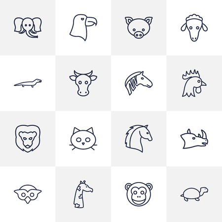 Set Of 16 Beast Outline Icons Set.Collection Of Eagle, Horse, Monkey And Other Elements.
