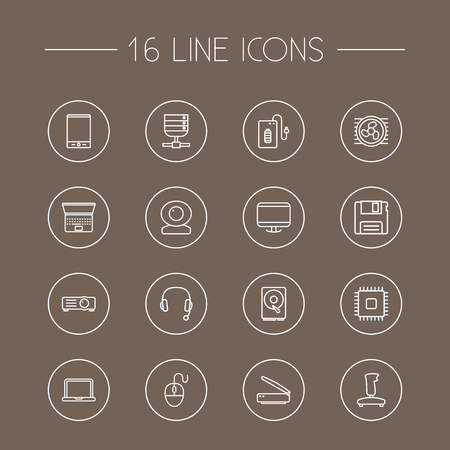 hdtv: Set Of 16 Notebook Outline Icons Set.Collection Of Scanner, Projector, Headphone And Other Elements. Illustration