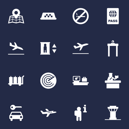 Set Of 16 Aircraft Icons Set.Collection Of Cab, Passport, Luggage Check And Other Elements. Illustration