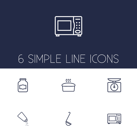 Set Of 6 Culinary Outline Icons Set.Collection Of Microwave, Salt, Jug And Other Elements.