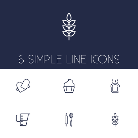Set Of 6 Stove Outline Icons Set.Collection Of Cupcake, Wheat, Gloves And Other Elements.
