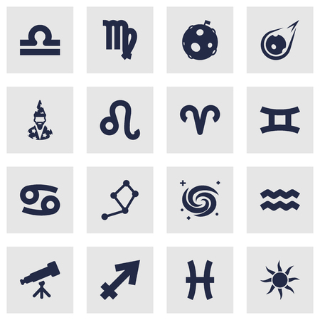 Set Of 16 Horoscope Icons Set.Collection Of Lion, Binoculars, Virgin And Other Elements.