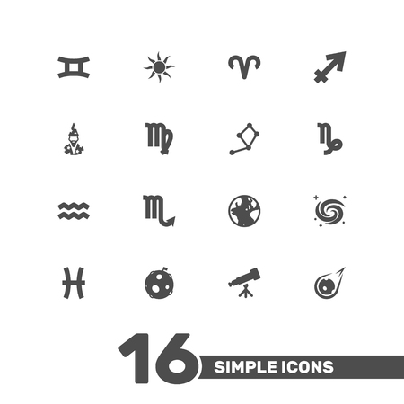 Set Of 16 Horoscope Icons Set.Collection Of Horoscope, Earth Planet, Space And Other Elements.