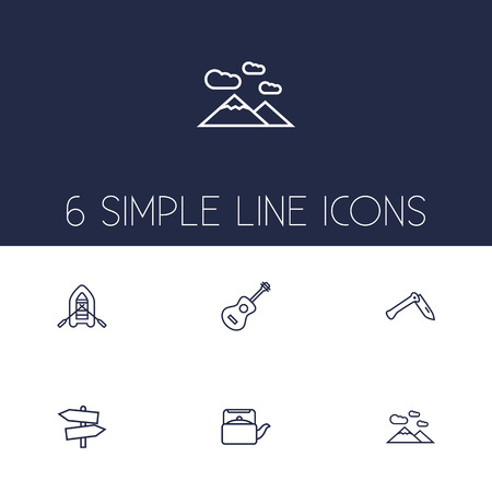 Set Of 6 Adventure Outline Icons Set.Collection Of Rubber Boat, Mountains, Guitar And Other Elements.