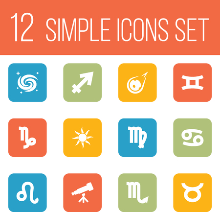 other space: Set Of 12 Astrology Icons Set.Collection Of Zodiac Sign, Binoculars, Space And Other Elements.