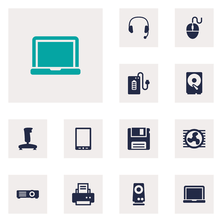 computerized: Set Of 12 Laptop Icons Set.Collection Of Peripheral, Show, Fan And Other Elements.