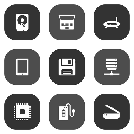 palmtop: Set Of 9 Laptop Icons Set.Collection Of Palmtop, Photocopy, Diskette And Other Elements. Illustration