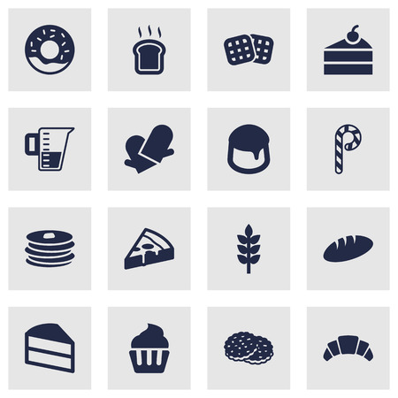 vanilla pudding: Set Of 16  Icons Set.Collection Of Measurement, Custard, Grain And Other Elements.