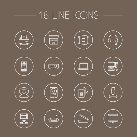 Set Of 16 Computer Outline Icons Set.Collection Of Monitor, Laptop, Hdd And Other Elements. Illustration