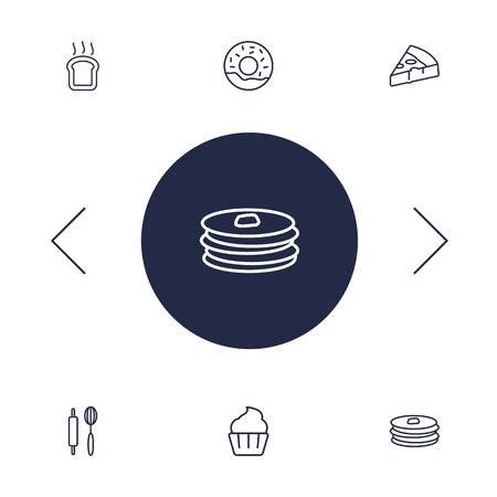 Set Of 6 Bakery Outline Icons Set.Collection Of Donuts, Cupcake, Pizza And Other Elements. Illustration