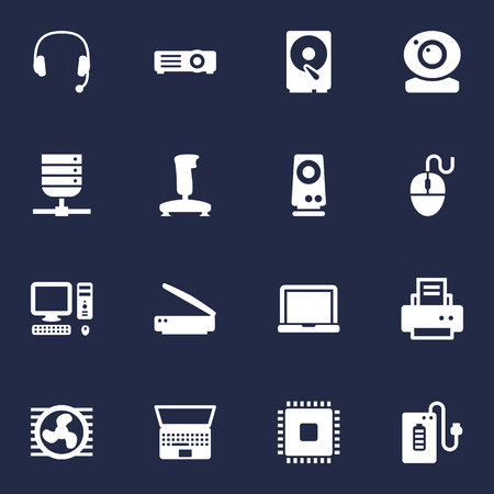 Set Of 16 Computer Icons Set.Collection Of Control Device, Laptop, Fan And Other Elements.