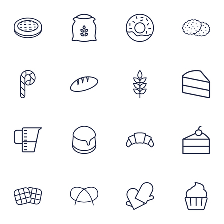 Set Of 16 Stove Outline Icons Set.Collection Of Measuring Cup, Candy Cane, Pretzel Elements. Ilustração