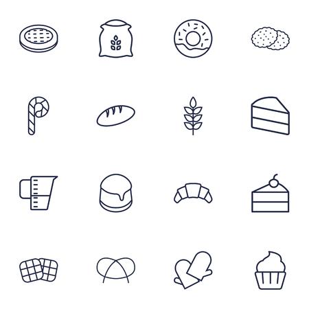 Set Of 16 Stove Outline Icons Set.Collection Of Measuring Cup, Candy Cane, Pretzel Elements. Illustration