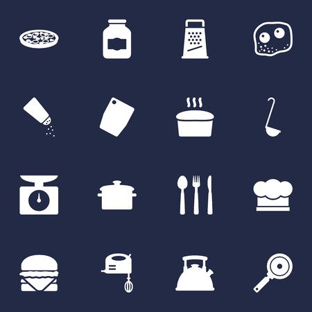 Set Of 16 Kitchen Icons Set.Collection Of Sandwich, Non-Stick, Saucepan Elements.