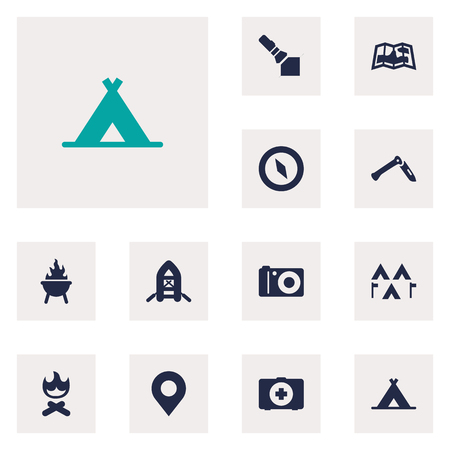 woodpile: Set Of 12 Picnic Icons Set.Collection Of Jackknife, Flashlight, Bbq And Other Elements. Illustration