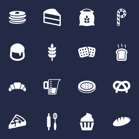 Set Of 16 Oven Icons Set.Collection Of Cake, Custard, Striped Lollipop And Other Elements.