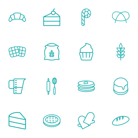 Set Of 16 Bakery Outline Icons Set.Collection Of Cake, Croissant, Pretzel And Other Elements.