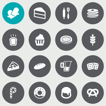 crispy: Set Of 16 Oven Icons Set.Collection Of Pepperoni, Pastry, Loaf And Other Elements.
