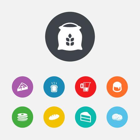 galletas integrales: Set Of 9 Stove Icons Set. Colección de natillas, torta, saco y otros elementos. Vectores