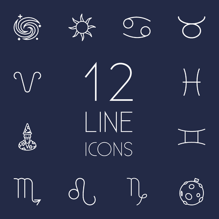 Set Of 12 Astronomy Outline Icons Set.Collection Of Aries, Taurus, Capricorn And Other Elements.