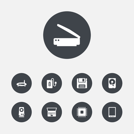palmtop: Set Of 9 Notebook Icons Set.Collection Of Diskette, Router, Palmtop And Other Elements.