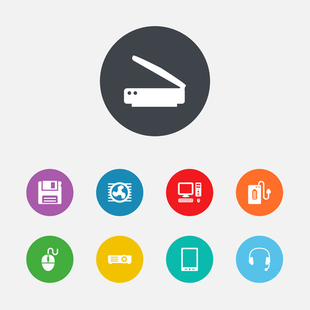 palmtop: Set Of 9 Computer Icons Set.Collection Of Diskette, Headset, Palmtop And Other Elements. Illustration