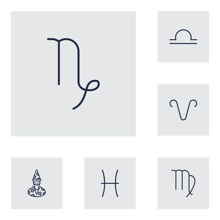 Set Of 6 Astronomy Outline Icons Set.Collection Of Aries, Capricorn, Virgo And Other Elements. Illustration