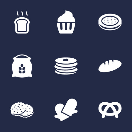 Set Of 9 Stove Icons Set.Collection Of Loaf, Potholders, Snack And Other Elements.