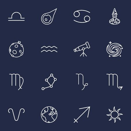 Set Of 16 Astronomy Outline Icons Set.Collection Of Astrologer, Sagittarius, Capricorn And Other Elements. Illustration